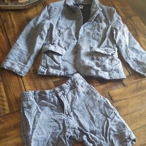 Janie and Jack Matching Sets - Linen blazer and shorts